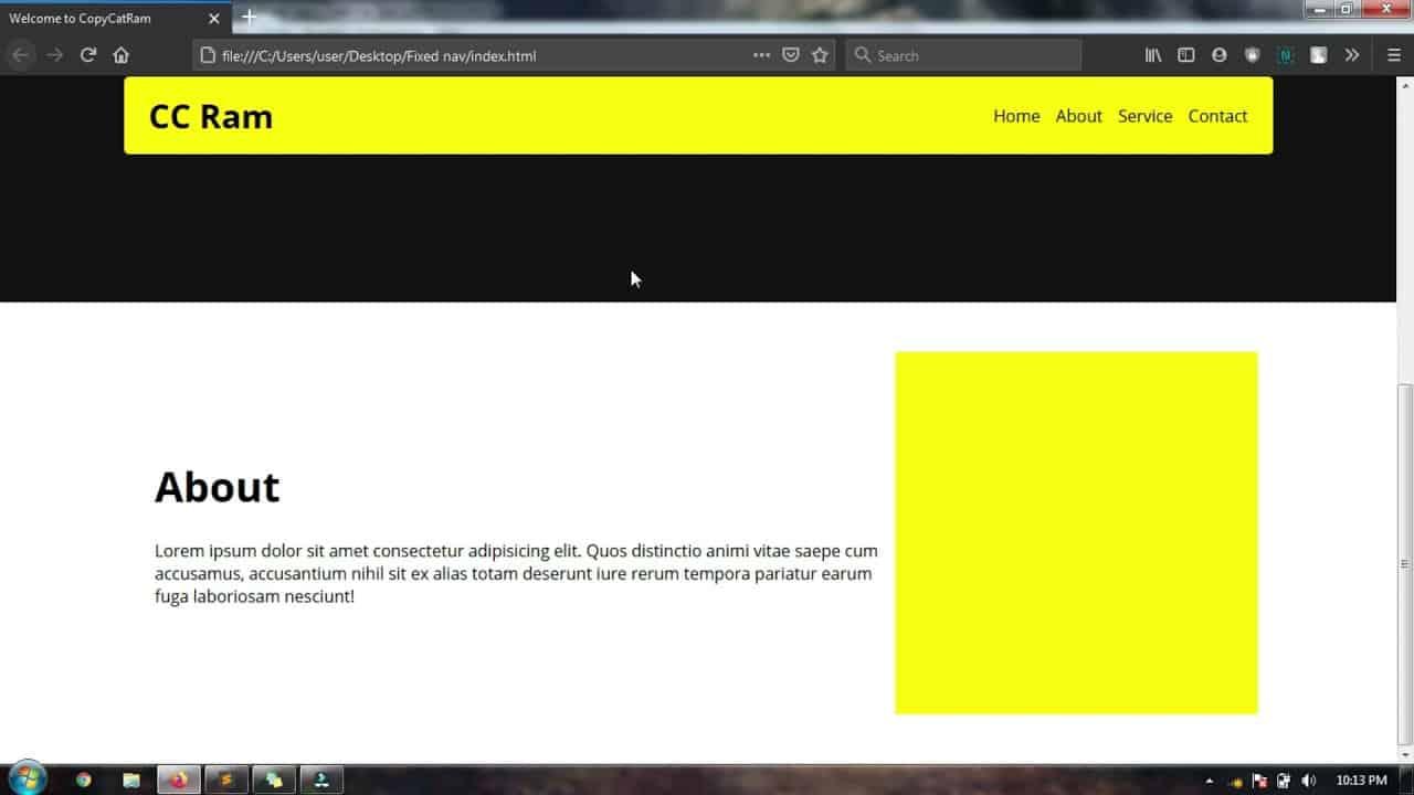 Sticky Navigation / Header HTML,CSS JS