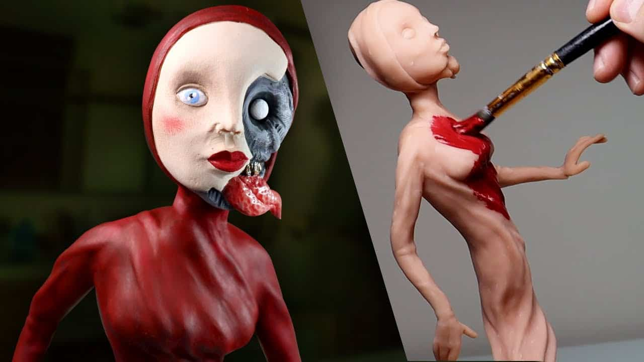 Making Up MY OWN Nightmare Character 'The Red Lady' - Polymer Clay Tutorial