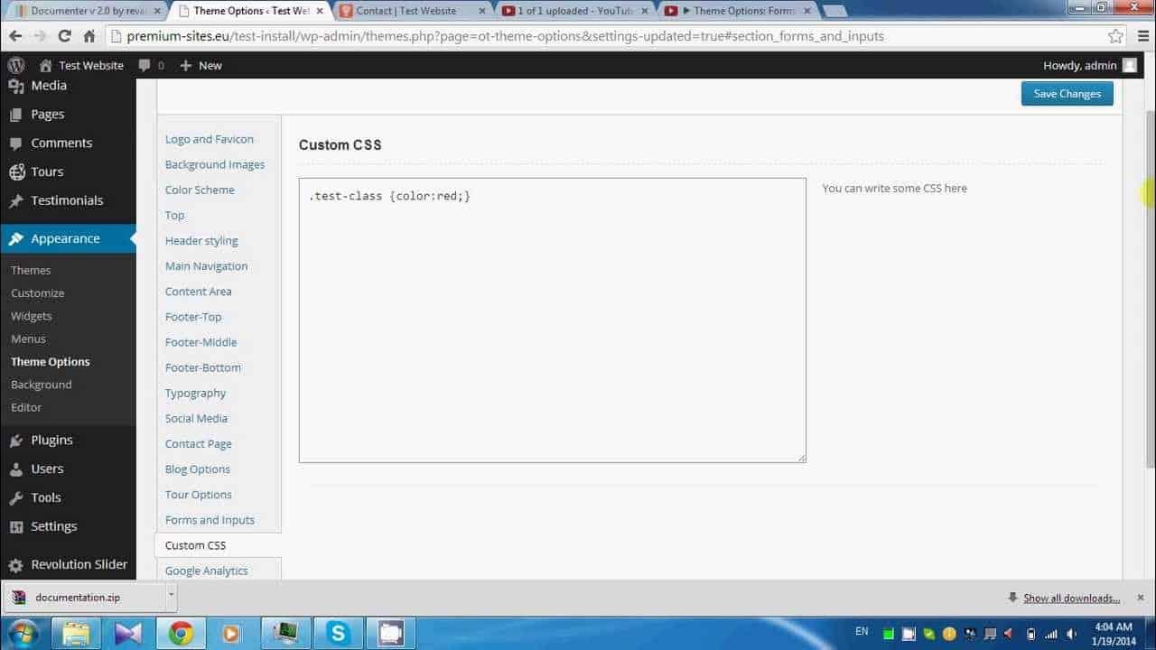Theme Options: Custom CSS