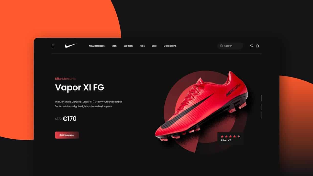 Designing a Nike Vapor XI FG Landing Page UI in Figma - Speed Art Tutorial