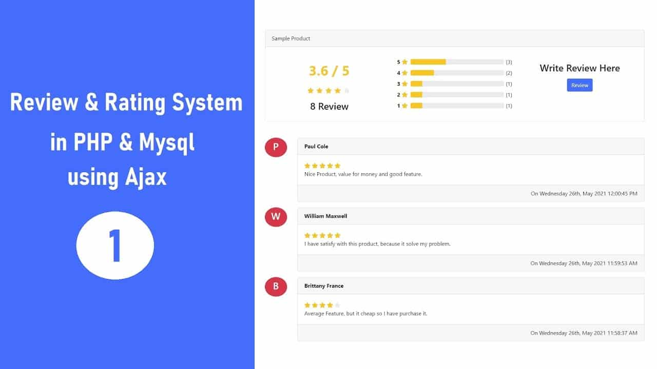 Review & Rating System in PHP & Mysql using Ajax - 1