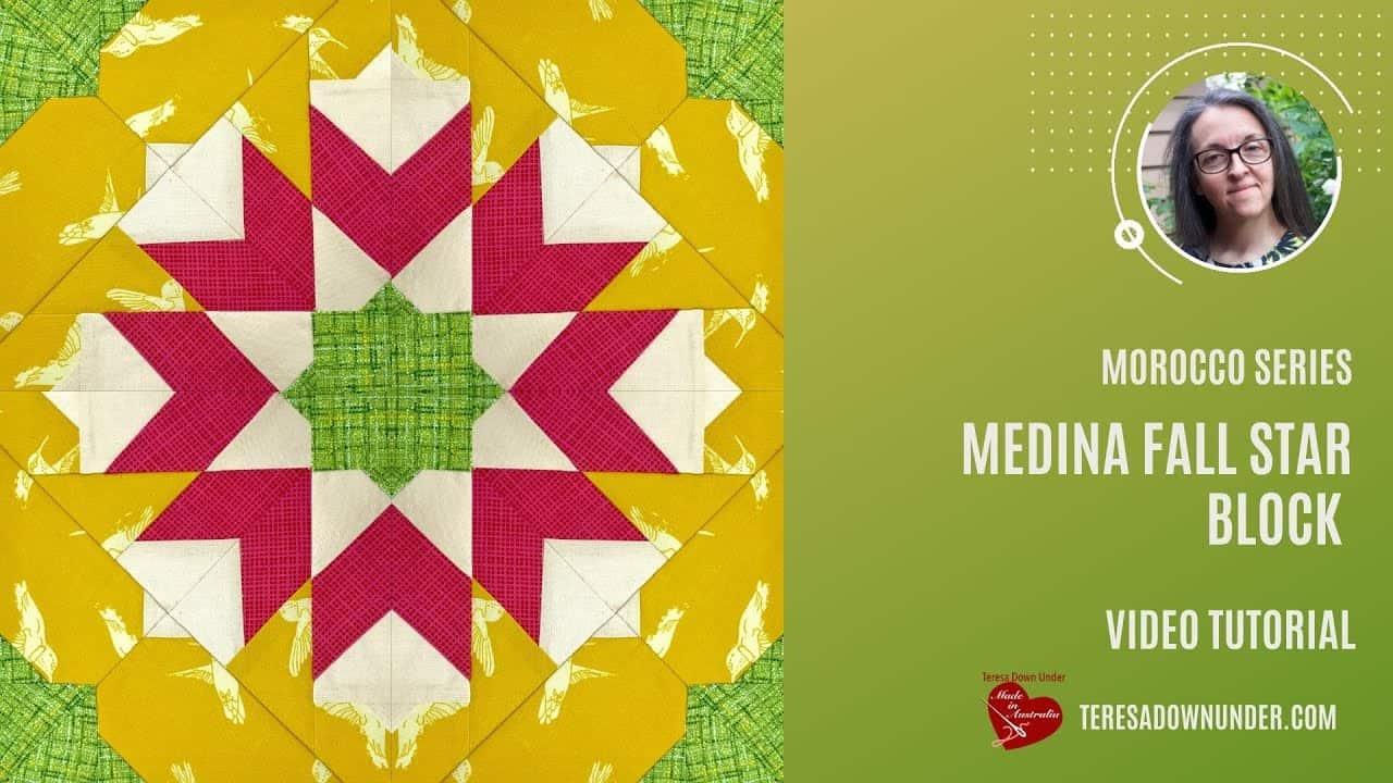 Medina Fall Star quilt block video tutorial - Morocco series