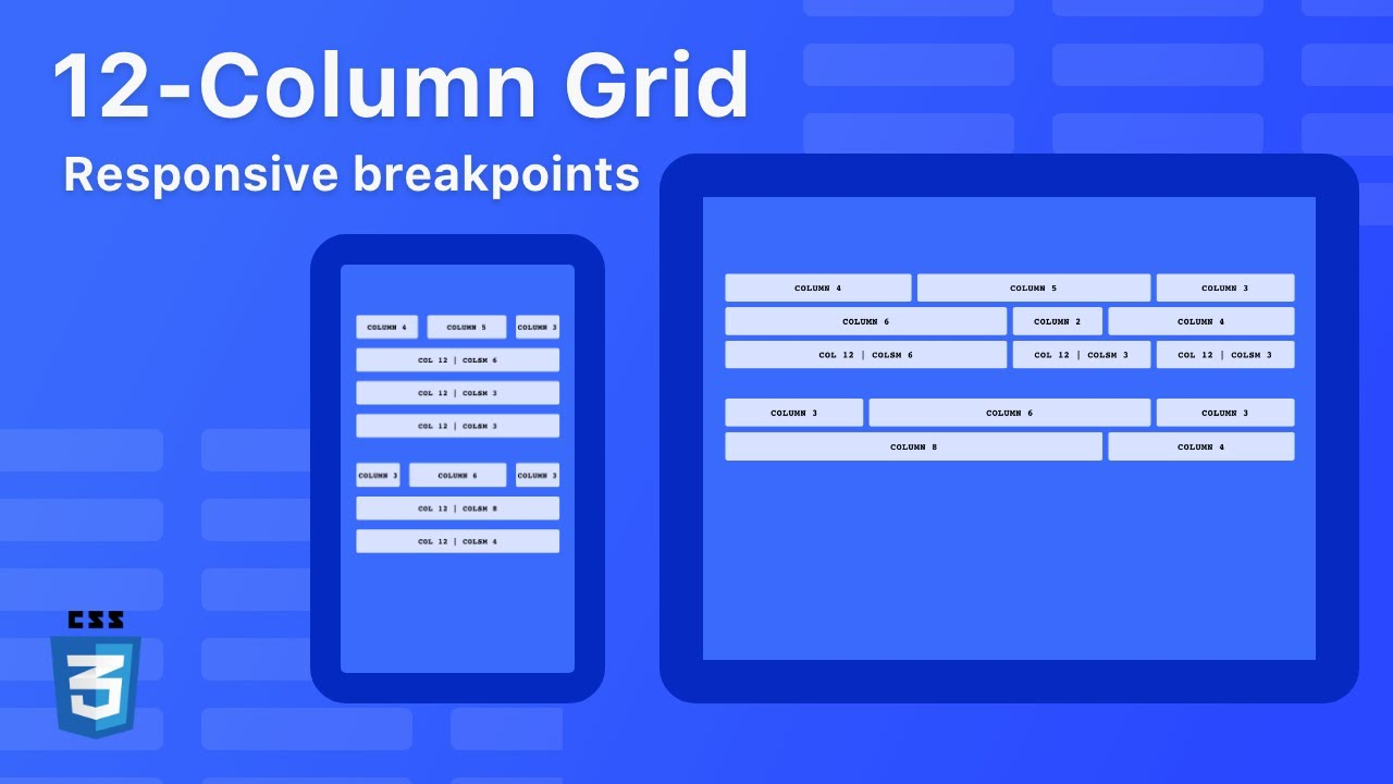 12-column grid with CSS Grid - Mobile first - Responsive Breakpoints