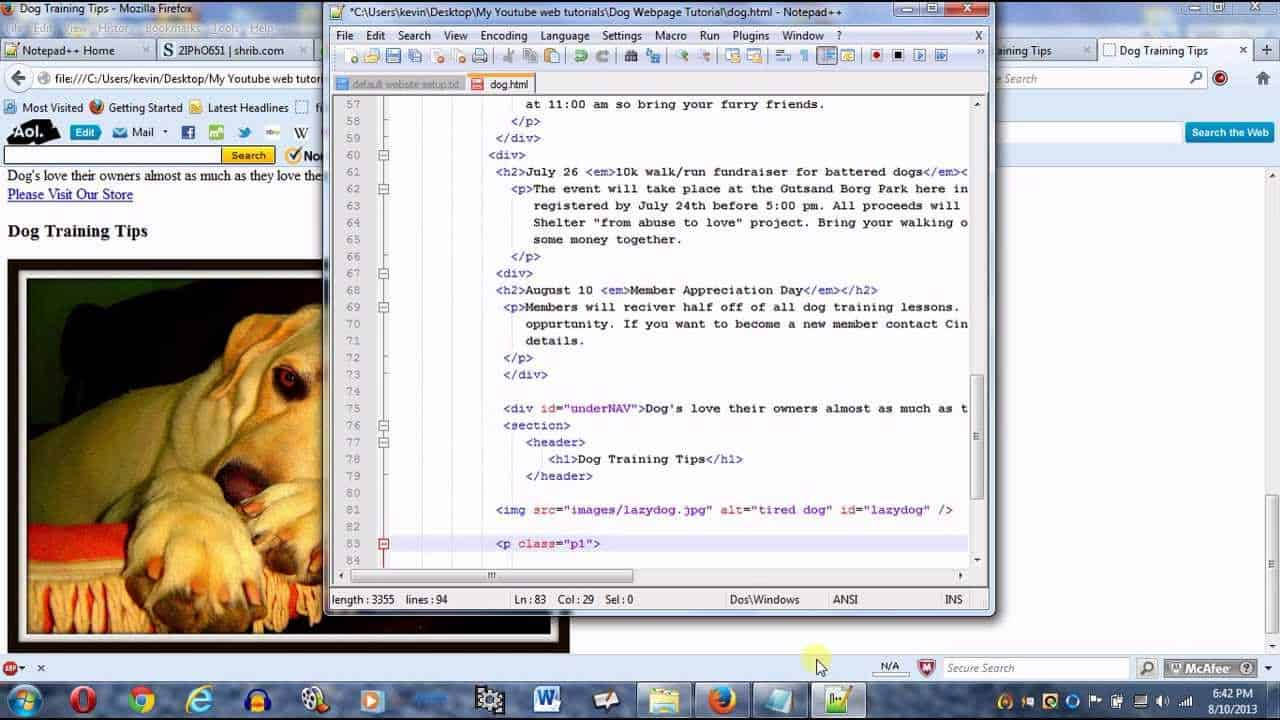 Create a webpage using HTML and CSS part 2