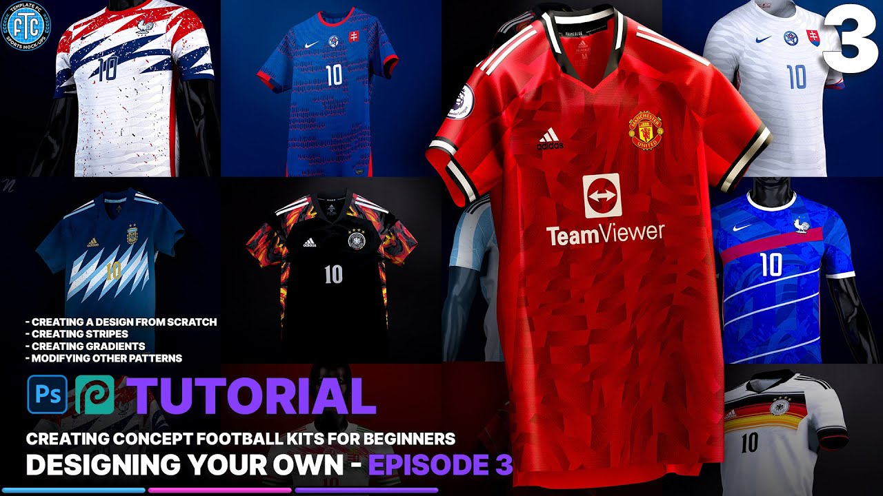 Designing Your Own Kit - How to Create Concept Football Kits - Ep. 3   Photoshop/Photopea Tutorial