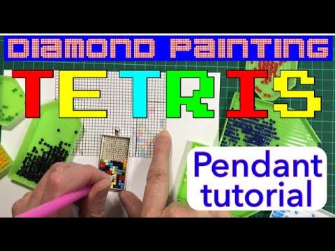 Tetris pendant diamond painting tutorial - make your own using spare leftover diamonds. Easy project