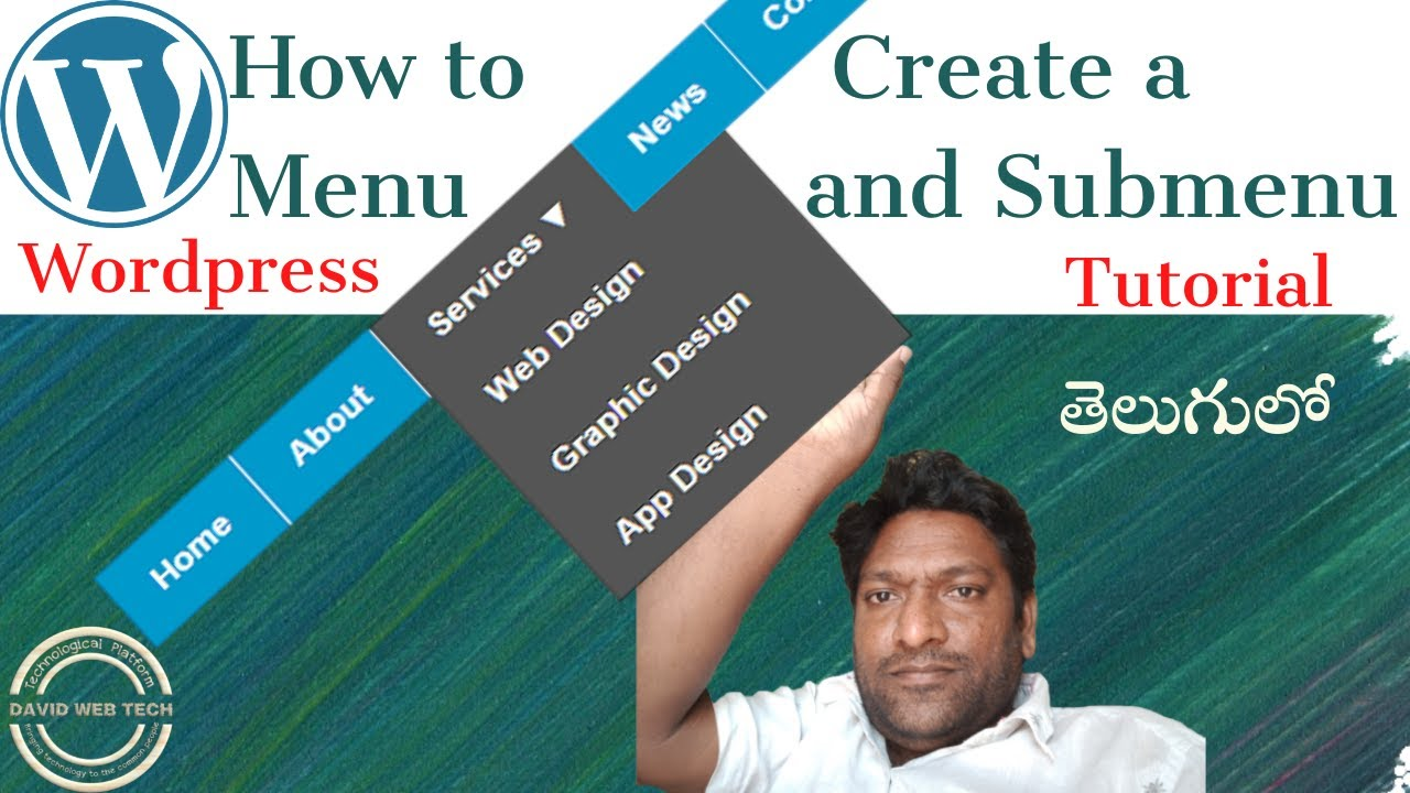 //How to create a menu in wordpress for your website/wordpress tutorial beginners//David Web Tech//