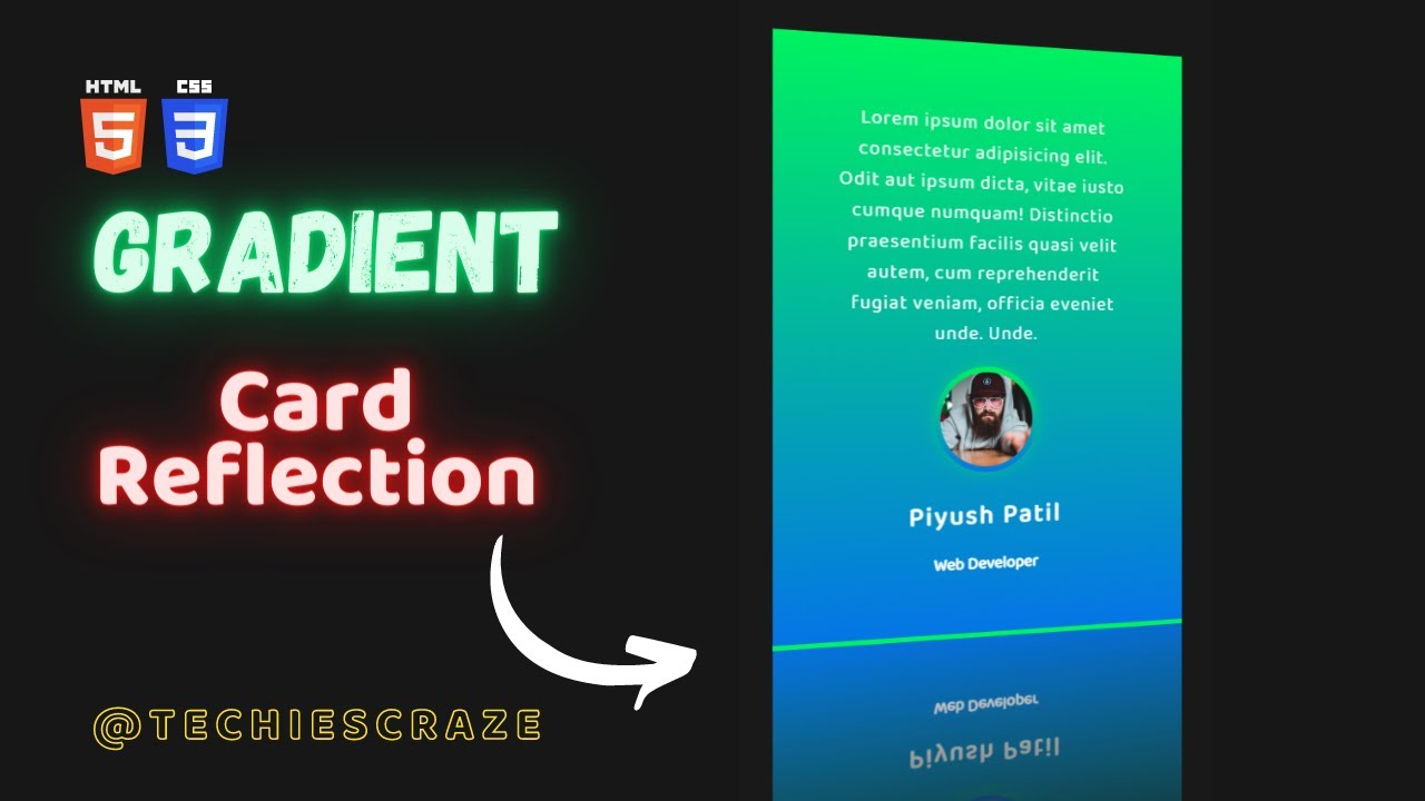 Testimonial Card with cool Reflection and Gradient Background using  HTML & CSS | TechiesCraze