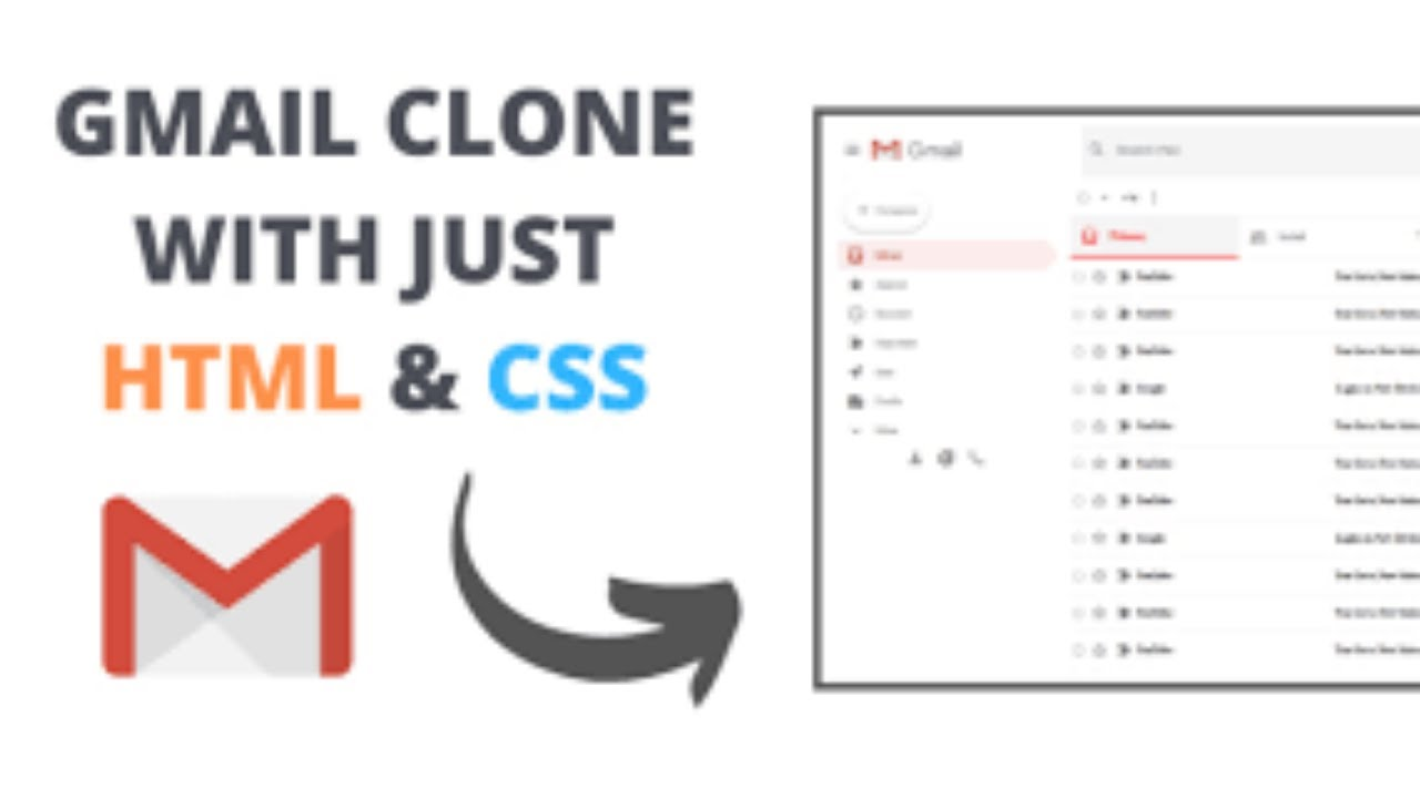 How to Build Gmail Clone using HTML & CSS - Beginners Tutorial