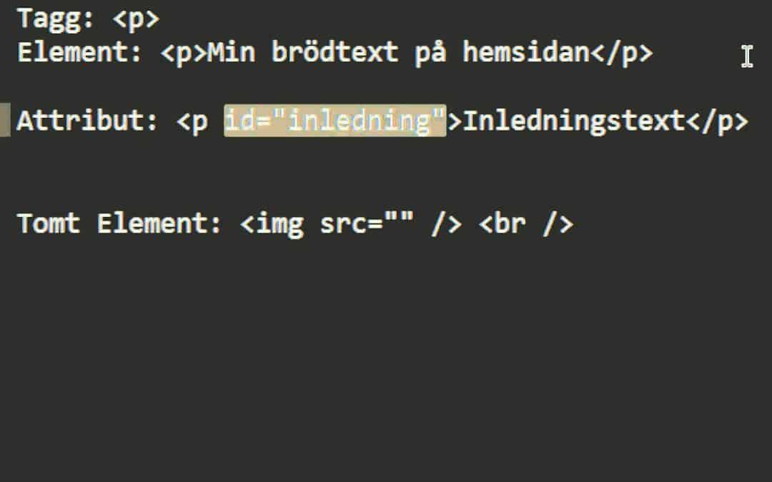 HTML & CSS Programmering (Del 1, Intruduktion till HTML med termer)
