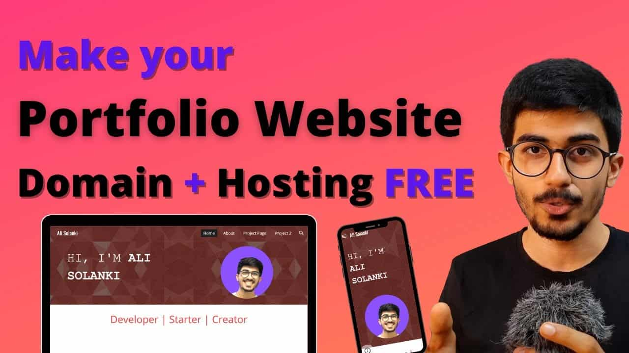 Make your Portfolio Website for FREE from scratch | DOMAIN & HOSTING Free by Ali Solanki