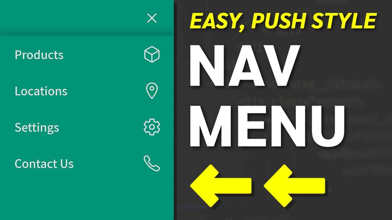 How to Create a Push Navigation Menu - HTML, CSS Web Design Tutorial