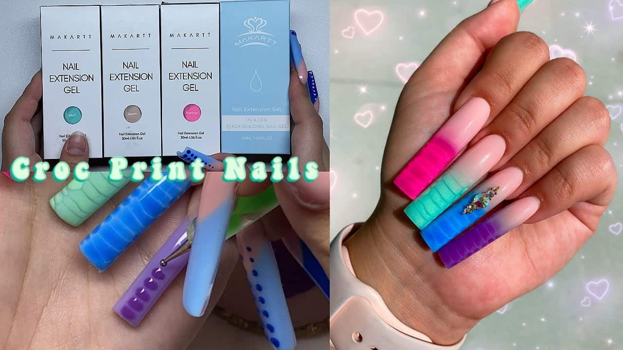 CROC PRINT OMBRE NAILS + MAKARTT BUILD YOUR OWN POLYGEL KIT! Nail Tutorial