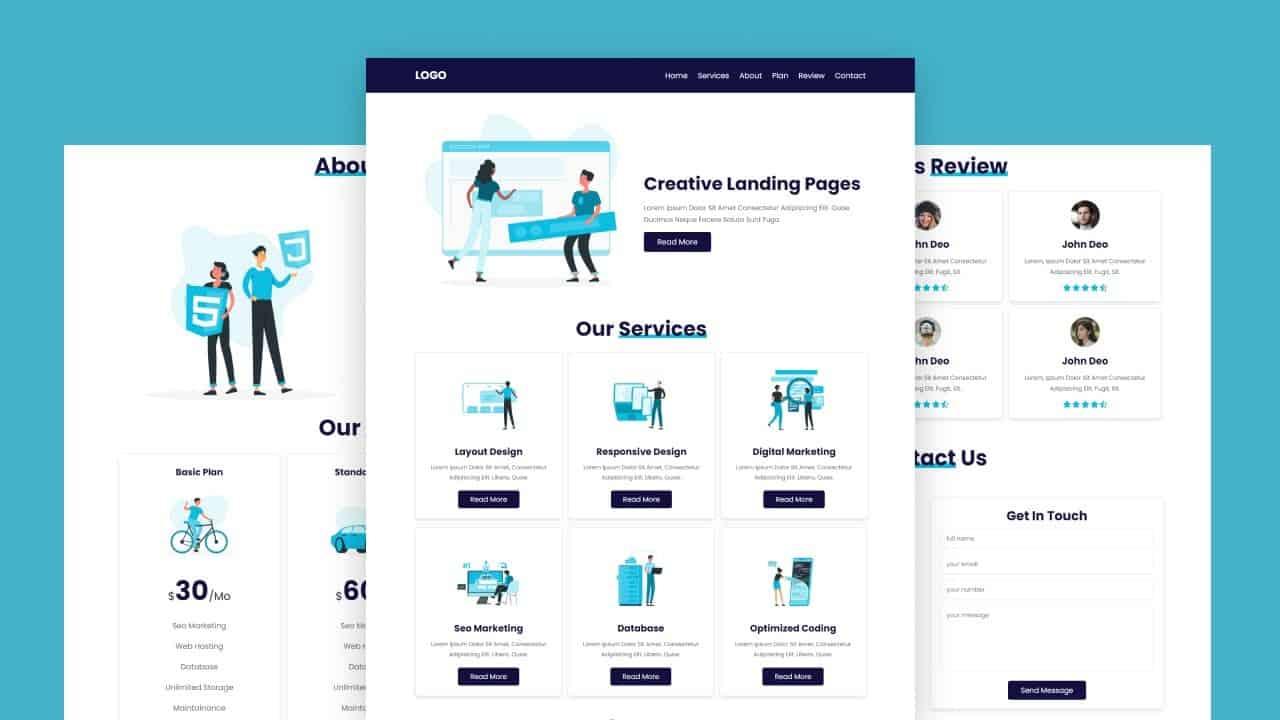 Create A Responsive Illustration Website Design Tutorial For Beginners Using HTML - CSS - JavaScript